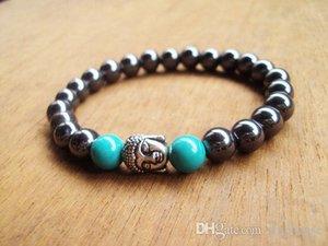 SN0084 8mm pierre turquoise hommes perlage Bouddha design de mode bracelet de pierre hématite perles bijoux de la livraison gratuite