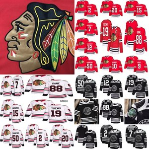 Hombres Mujeres Niños Chicago Blackhawks hockey 88 Patrick Kane 19 Jonathan Toews 2 Keith 20 Saad 12 Alex DeBrincat Red White Jerseys S-3XL