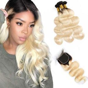 Малазийский волос девственницы 3 Связки С 4X4 Шнурок Закрытие 1B / 613 Ombre Продукты человеческих волос 10-28inch Связки С 4 на 4 Closures