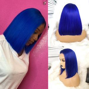 150% Densità parrucca blu dei capelli di capelli umani con capelli del bambino brasiliano merletto anteriore parrucca corta Bob parrucche del partito morbida parrucche per le donne