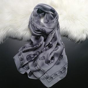 2018 New Skull Design Fashion Lady 100% Natural Silk Scarf Beach Long Shawl Hijab Multi use Scarves High Value Drop Shipping KL3