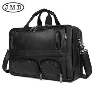 J.M.D 100% натуральная кожа Vintage мужской портфель сумка для ноутбука большого размера рук Деловая сумка Кофе 7289