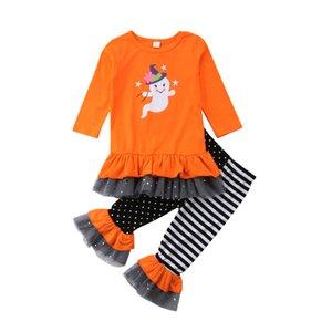 Schöne Kleinkind-Mädchen Halloween-Kleidung 2ST Geist T-Shirt Tops Striped Punkt orange Hosen Outfits Set
