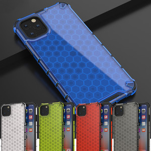 Favo de mel resistente Caso híbrido Armadura para o iPhone de 11 Pro Max 2019 XS Max XR XS X 8 7 6s 6 Plus tampa traseira transparente Phone Case NOVO