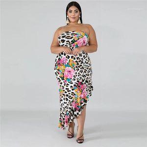 Diseñador de gran tamaño del verano del vestido del leopardo del estampado de flores de trompeta Vestidos Las mujeres ocasionales de la manera ropa de las mujeres atractivas sin tirantes