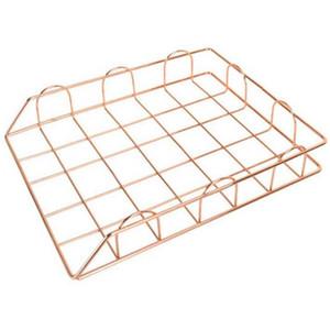 Nordic Rose Gold Metal Stackable Storage Bask Office Desktop A4 Paper Finishing Basket Newspaper Organizer Frame Rack