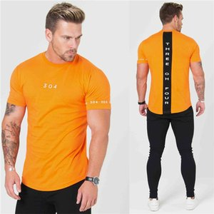Nuevos gimnasios Ropa Fitness Tees Hombres Moda Extender Hip Hop Verano Camiseta de manga corta Algodón Culturismo Muscle Guys Marca