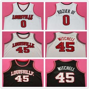 Louisville Collegio Terry Rozier III # 0 Donovan Mitchell # 45 Retro Jersey di pallacanestro degli uomini di cucito su misura Numero Nome maglie