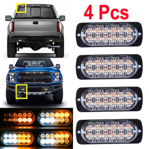 4pcs 12-24 voiture camion Attention Strobe Light 12 LED d'urgence Strobe Light Bar Hazard Beacon Lampe clignotant