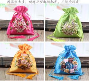 Bolsita bolsita bolsita cinta de bordado bolsa de joyas vacío bolsa de regalo armario de lavanda decoración punto 5 colores al azar