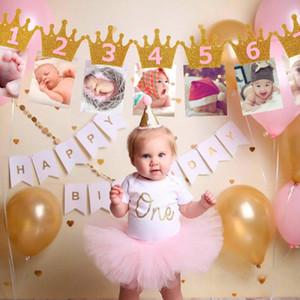 Baby Shower Блеск Корона Birthday Party Блеск Корона Месячный фотография Digital Banner 1-12 месяцев Garland Garland Party Decor Горячие