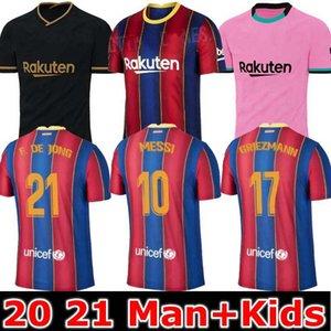 TOP FC BARCELONA كرة القدم جيرسي 2020 2021 camisetas دي فوتبول أنسو FATI 20 21 ميسي GRIEZMANN DE JONG Maillots دي قميص كرة القدم عدة رجال الاطفال