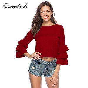 Queechalle Mulheres Sweater 2020 Primavera camisola de malha E pulôver Feminino Sólidos bolo luva pulôver blusas de malha Jumpers Top