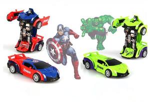 Hot The Avengers Spider-man Captain America et la voiture de collision hulk jouet déformation plastique et du robot Deformation cadeau pour les enfants
