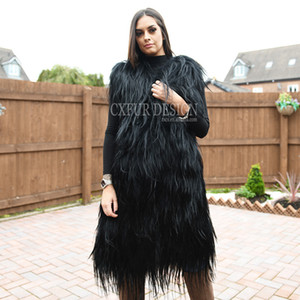 CX-G-B-36 Highstreet Moda Pelliccia strisce cucito inverno cappotto Gilet reale capra lunghi gilet di pelliccia Donne