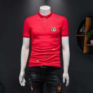 2020 Новый Красивый Отворотный Отворот Рубашка Дниз Мужской Ледяной Шелковая Печатка Персональ мужской Рубашки с короткими рукавами Рубашка Polo