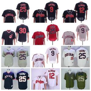 Cleveland-Baseball-Jersey 9 Carlos Baerga Jersey BP Jahrgang 12 Roberto Alomar 25 Jim Thome 30 Joe Carter 2016 kühlen niedrigen 03