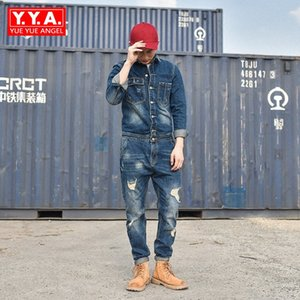 2018 Designer Fashion Mens Hole Denim Overalls Vintage Blue Jeans For Mens Harajuku Work Cargo Clothes Long Casual Streetwear
