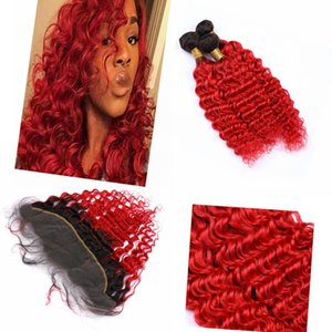 """Ombre onduleux Bundles Cheveux avec fermeture Frontal Indian Hair 13 """"* 4"""" Dark Racine # 1B / # 3 Ombre rouge vague cheveux avec fermeture vague profonde"""