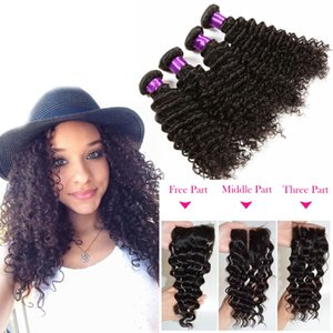 Brazilian Deep Wave Virgin Hair 4x4 Lace Closure With 4 Bundles Unprocessed Human Hair Extensions Natural Color Free Shipping