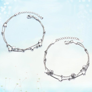 Women round bead five-pointed star double bracelet Simple small girl wild fresh personality hand jewelry