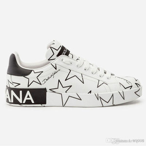Yeni erkek ve kadınlar KARIŞIK YILDIZ BASKI NAPPA DERİ PORTOFINO SNEAKERS lüks tasarımcı ayakkabı erkek ve kadın spor ayakkabı deri en kaliteli