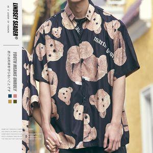 Lindsey Seader palma Urso Imprimir fora da cabeça de Angle Impressão completa Turn-Down Collar Casual Shirts Camisetas masculinas Men 2020 Summer Street