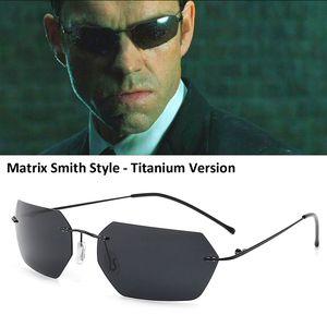 HBK 2020 L'agent Smith Matrice de style lunettes de soleil polarisées Rivets Hommes Driving polygone de titane Lunettes de soleil pour hommes