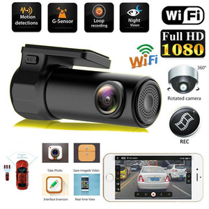Car DVR Mini Camera Can Rotate 360 FHD 1080P Video Car Camera For Driving Recording Car DVR Detector Dashboard Camera WiFi