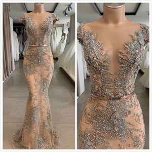 Champagne Luxurious Mermaid 2019 Dubai Dubai vestidos de noche Sheer Neck Lace Beaded Prom Dresses Vestidos de dama de honor de fiesta formal sexy