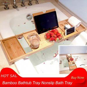 Bamboo Banheira bandeja antiderrapante Bath Bandeja Spa Banheira Organizador Livro Wine Tablet Titular Reading Rack95 * 22,5 * 3 centímetros