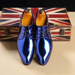 England Classic Shiny Patent Leather Men Shoes Business Casual Oxford Shoes Pointed Toe Lace Up Men Flats Wedding Prom Shoes