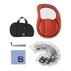 Waltert WH16 16String Wooden Lyre Harp Metal Mahogany Solid Wood String Instrument with Bag Mandolin Strings Tuning Wrench Strings