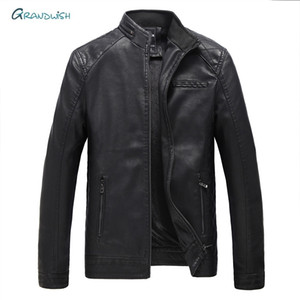 Grandwish Men PU Leather Coat Jacket Winter Snow Warm Fleece Casual Motorcycle Coats Male Brand Big Size Leather Jacket ,DA988