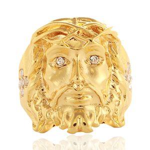 24 K oro Hip Hop Bling Bling cruz de cristal Jesús pieza anillos alta calidad moda Charm Punk accesorio joyería