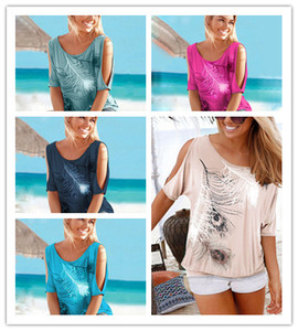 Newest Summer Women Off Shoulder T Shirt Short Batwing Sleeve Feather Printed Loose Pullover Top Sexy Plus Size Blouse Tees S-5xl D22003