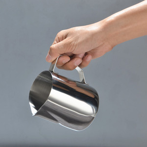 Acero inoxidable leche espumejea Jug 5 7 12 20 oz de crema de leche taza de café Creamer, Arte Latte Cappuccino espumejea Pitcher Tire Copa Flor VT1503