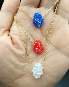 Resina Opala Hamsa Mão Gargantilha Colar de corrente de aço inoxidável de ouro Collana Kolye Collares femme Kolye Bijoux Mujer
