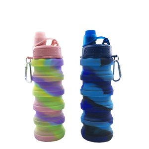 Kreative Camouflage Wasserflasche Silikon Falten Teleskop Becher Sport Getränke Tassen Fit Wandern Camping Ausrüstung 500 ml 18 6lj E1