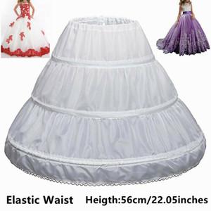 One Size White Niños enagua A-Line 3 aros Una capa Kids Encaje de crinolina Encaje Vestido de niña de flores Underskirt Cintura elástica