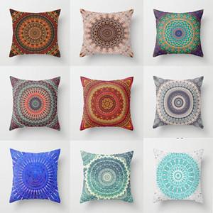 Fronha Bohemian Mandala poliéster Geometric Sofá decorativa Capa de Almofada para Home Decor 45x45cm Peach Velvet Pillow 9styles RRA2910
