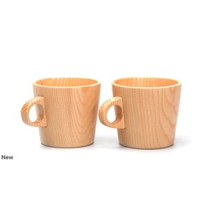 Wooden Drinking Cup Coffee Tea Beer Juice Milk Cups Anti-scalding Single Ear Wood Water Mugs CCA11957 25pcs