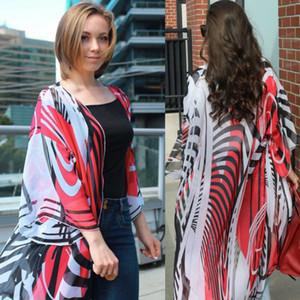 Royaume-Uni Femmes Floral en vrac Kimono genoux ouvert à rayures Point Imprimer Cardigan en mousseline de soie Bohême plage Tops Manteau long Chemisier