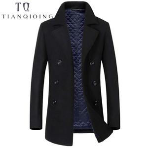 الشتاء الصوف سترة الرجال اضافية طويلة رجل الكشمير السترات والمعاطف أزياء واحدة اعتلى معطف عارضة ضئيلة معطف الصوف البازلاء
