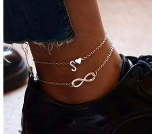 Silver Heart English Letters Anklets Leg Bracelets Set Alphabet Anklets Barefoot Ankle Chain Sandal Footwear Summer Foot Jewelry