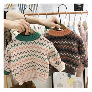 Stampa Maglione bambini Designer Maglioni ragazzi del pullover di marca Abbigliamento Bambini di lusso 2 colori per i bambini a maniche lunghe vestiti a strisce