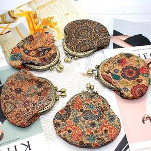 New Purse Fashion Carton Ethnic Style Mini Print Women's Semi-Circular Fashion Bag Retro Handmade Wallet Coin Purse with zipper