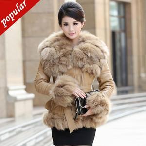 Real Fox Fur Collar 2019 Inverno Donna vera pelle di montone pelle bianca anatra giù giacche cintura breve Slim Cappotti in vera pelle