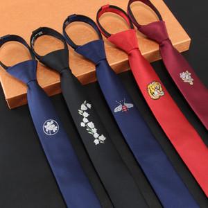 Herren Krawatten faul Krawatte Reißverschluss dünne schwarze Krawatte Männer Blumenbinder 5cm bereit bowknot Modedesigner