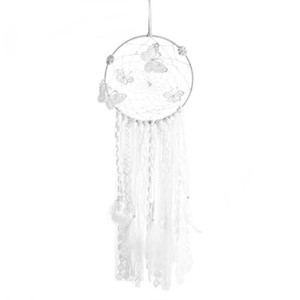 Butterfly Dreamcatcher Decor Creative Hanging Ornament Exquisite Photo Props Hanging Adornment for Home Bedroom Living Room (Whi